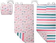 Flapjackkids - Kinder-Strandtuch-Rucksack / wendbar / Zoo / Pink / 71x145 cm